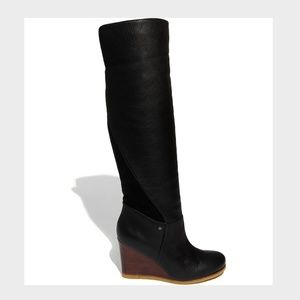 UGG Ravenna Black Leather Wedge Boots